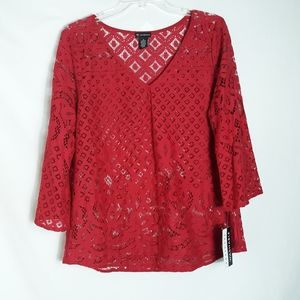 New Directions Women's Size Large Red Lace Top